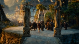 Dwarves Bilbo and Gandalf in Rivendell Hobbit Movie