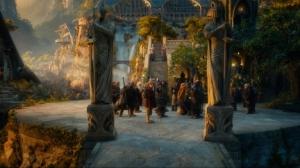 Dwarves Bilbo and Gandalf in Rivendell Hobbit Movie