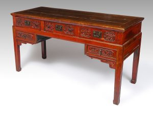 Old Red Chinese Writing Desk